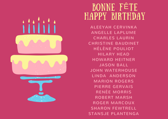 Happy Birthday To Our Volunteers For The Month Of August