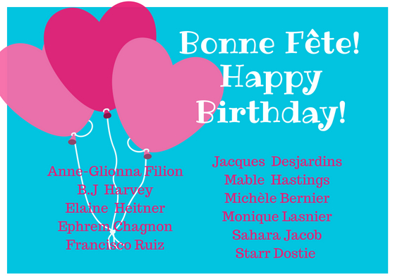 Happy Birthday To Our Volunteers For The Month Of June